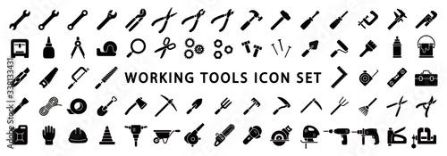 Fotografia Big Set of Working Tools Icon (Flat Silhouette Version)