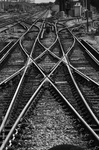 Canvas Print High Angle View Of Railroad Tracks