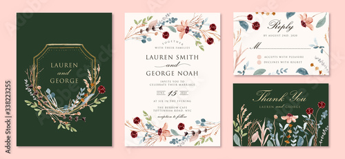 wedding invitation set with wild floral branches watercolor