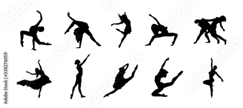 Fotografia Ballet dance silhouettes with women body, pose and anatomy styles collection