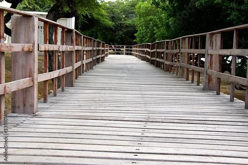 Surface Level Of Empty Wood Paneled Footbridge Fototapet