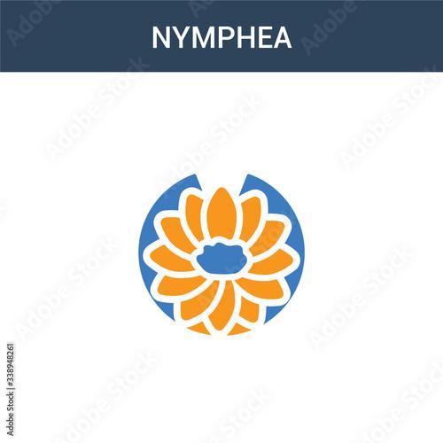 Fototapeta two colored Nymphea concept vector icon