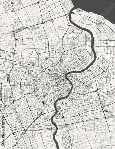 Obraz na plátně map of the city of Shanghai, China