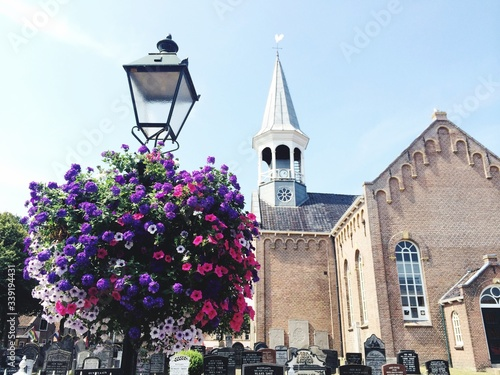 Photo Low Angle View Of Petunia Flowers On Street Light Against Church