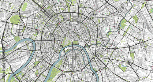 Fotografie, Obraz Detailed vector map of Moscow, Russia
