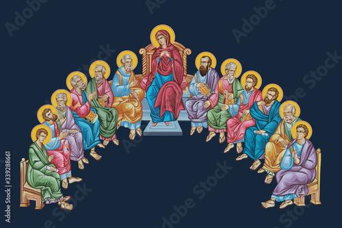 Canvas Print 12 apostles and virgin Maria
