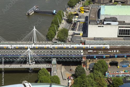 Fototapeta View on beautiful railway bridge across thames river to famous Charing cross railway station