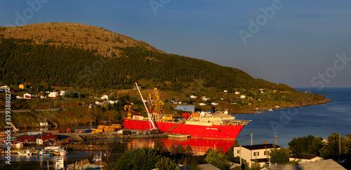 Canvas Print Deep Pioneer ship in Bay Bulls Newfoundland port at sunset