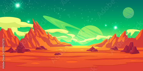 Fotografía Mars landscape, alien planet background, red desert surface with mountains, craters, saturn and stars shine on green sky