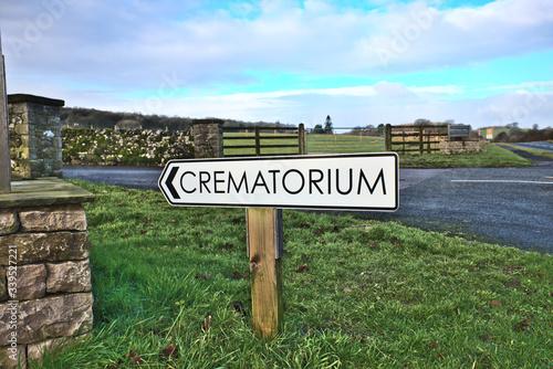 Billede på lærred Crematorium sign at Beetham Hall Cumbria UK
