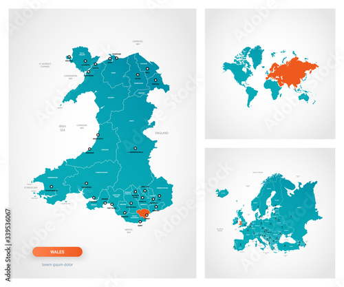 Photo Editable template of map of Wales with marks