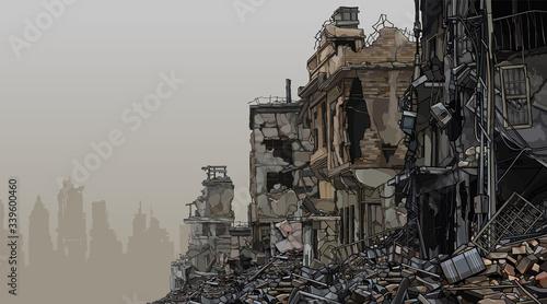 Fotografie, Obraz urban background ruins of ruined buildings with trash below