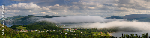 Wallpaper Mural Panorama of low clouds over Bonne Bay at Norris Point Newfoundland in the evenin