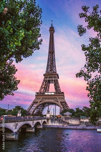 Eiffel Tower Against Sky During Sunset Fototapeta