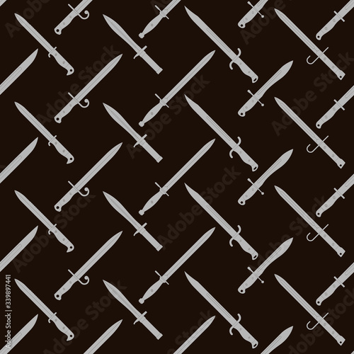 Canvas Print Seamless vector pattern with bayonet knives