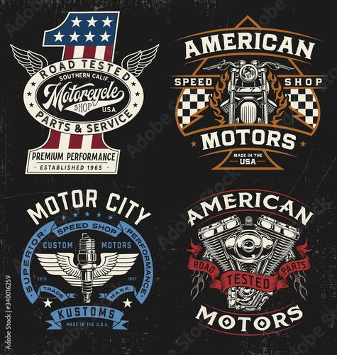 Canvas Print Vintage motorcycle badge, label, logo, t-shirt graphic set
