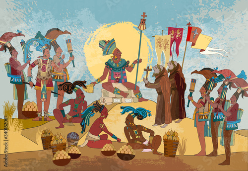Ancient Mayan. Mural Painting. Old frescos. Conquistadors and Aztec and Inca people. Pyramid and tribe. Maya art. Conquest of America. Historical background. Ancient mexican mesoamerican history