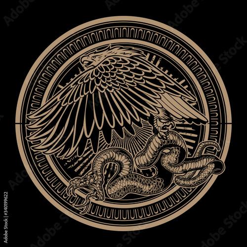 Wallpaper Mural Snake and Eagle on circle Gold Vintage vector logo design illustration
