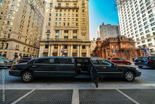 Stampa su Tela Undefined Luxury limousine open door for prepare service vip customer at Philade