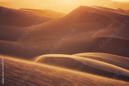 Wallpaper Mural Sand dunes in desert landscape at sunset