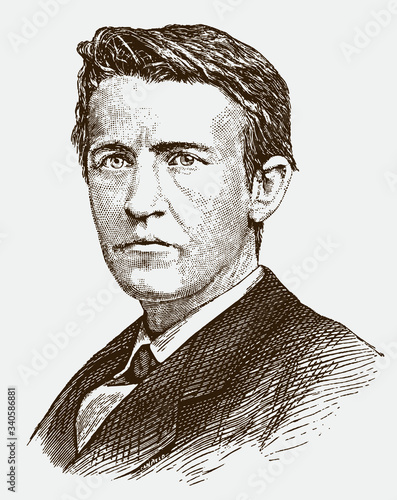 Fotografiet Historical portrait of young Thomas Alva Edison the famous American inventor and businessman