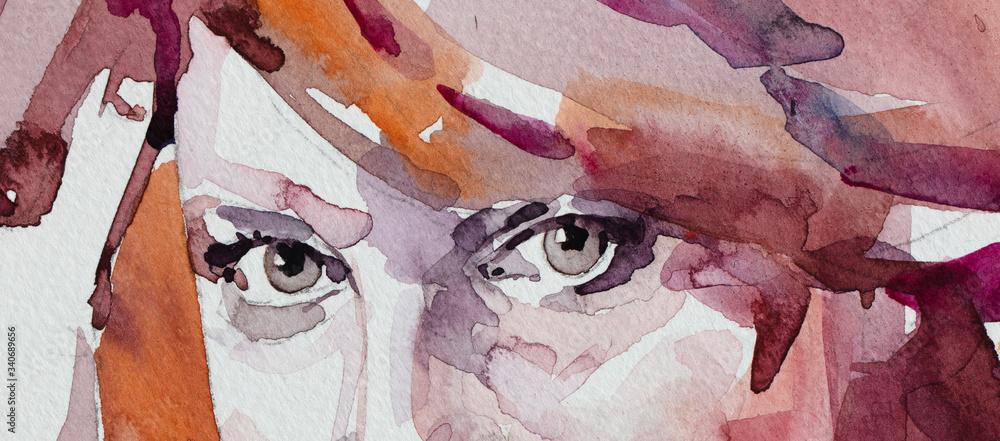 watercolor painting, female portrait, handmade