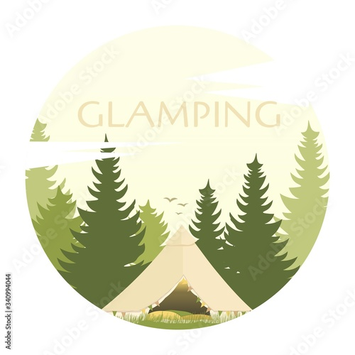 Vászonkép Glamping tent in forest. Glamor camping. Pine forest. Camp.