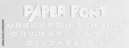Foto Floating paper letters and numbers of the alphabet on light gray background