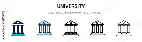Photo University icon in filled, thin line, outline and stroke style