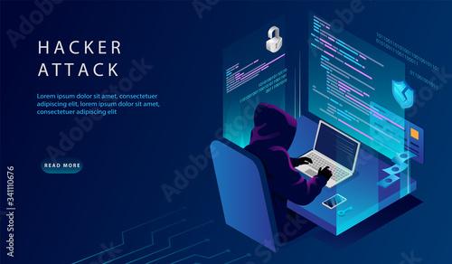 Fotografia Isometric Internet And Personal Data Hacker Attack Concept