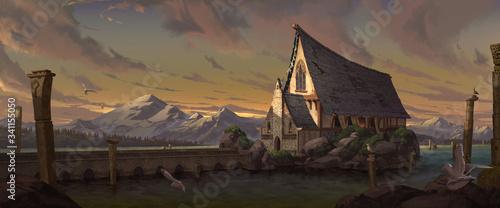 Obraz na płótnie A digital illustration of the big medieval fantasy chapel.