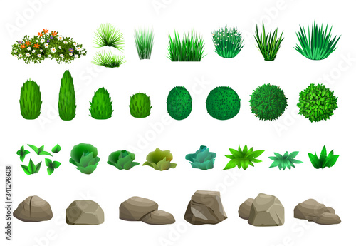 Fotografering Set of vector trees bushes and stones
