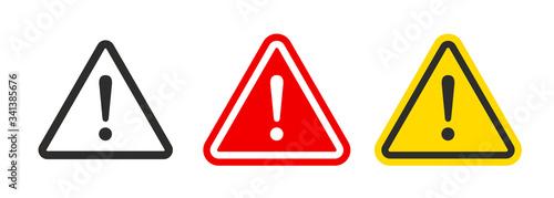 Obraz na plátně Caution warning signs set. Exclamation marks