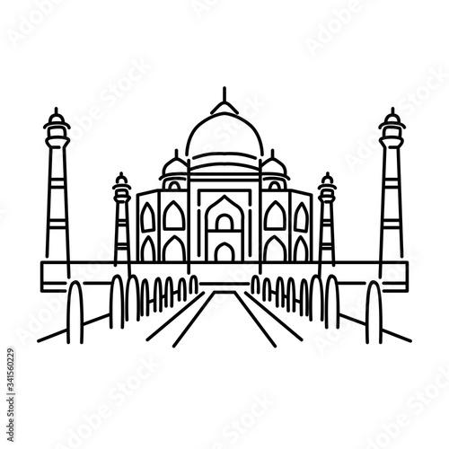 Fototapeta Taj Mahal Line Art Vector. Isolated on White background