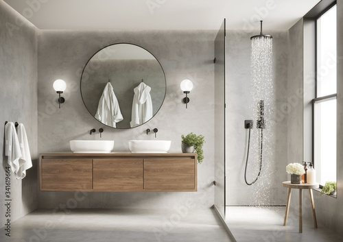 Canvas Print 3d modern contemporary grey concrete bathroom with  round mirror and shower