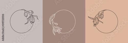 Set of fuchsia flower frames and monogram concept in minimal linear style Fototapeta