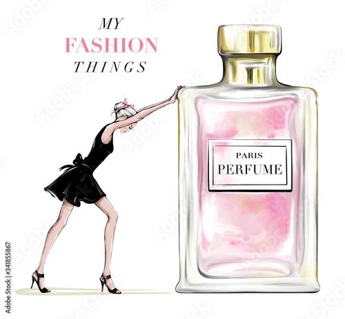 Wallpaper Mural Hand drawn beautiful young woman pushing perfume bottle