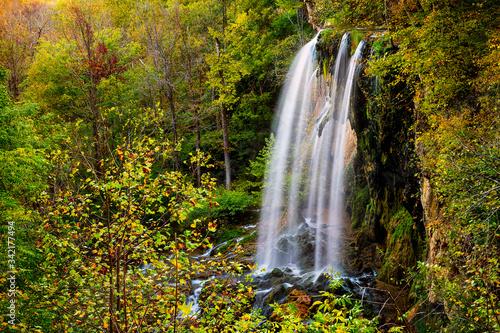 Fényképezés Appalachian mountains long exposure of Falling Spring Waterfall and green yellow
