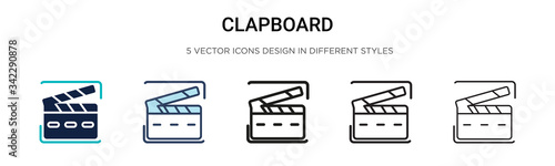 Cuadros en Lienzo Clapboard icon in filled, thin line, outline and stroke style