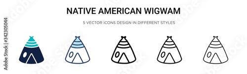 Obraz na płótnie Native american wigwam icon in filled, thin line, outline and stroke style