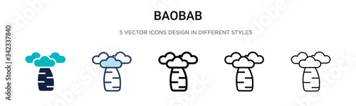 Leinwand Poster Baobab icon in filled, thin line, outline and stroke style