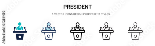 Stampa su Tela President icon in filled, thin line, outline and stroke style
