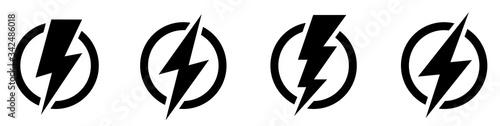 Wallpaper Mural Set lightning bolt. Thunderbolt flat style - stock vector.