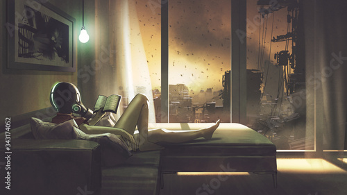 self-quarantine concept, a girl with wearing a gas mask lying on the sofa reading a book in her room, digital art style, illustration painting