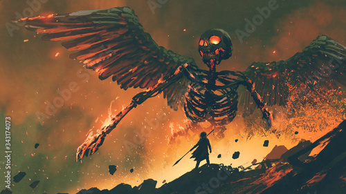 Photographie man with his spear waking up the giant skeleton from hell, digital art style, il