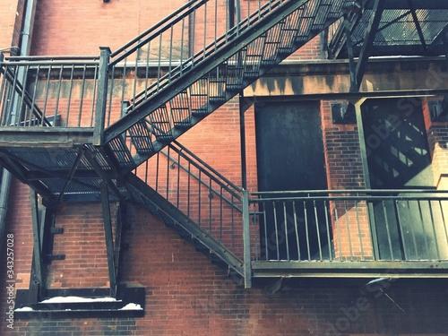 Canvas Print Fire Escape On Building