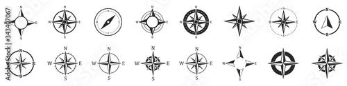Fotografie, Obraz Compass icons. Set of vector compass icons.