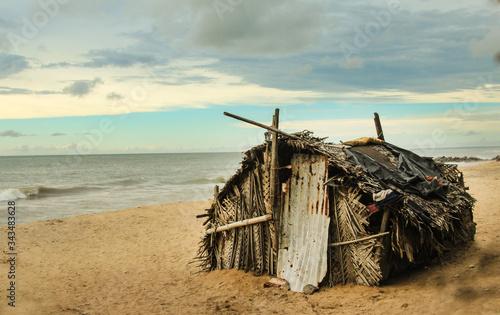 Lifeguard Hut On Beach Against Sky Fototapet