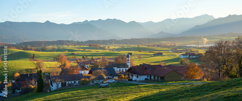 Fotografiet idyllic village aidling, rural bavarian landscape, german autumnal scenery