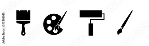 Fotografie, Obraz Paint icons set. Paint brush vector icon. Paint roller icon